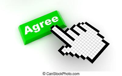 A white hand cursor push a green button