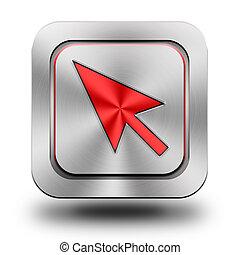 ''Cursor'' aluminum glossy icon, button
