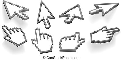 Computer interface hand cursor and arrow cursor in different 3D angle variations, 2 float, 2 with drop shadows.