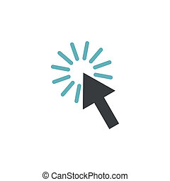 Cursor arrow icon, flat style