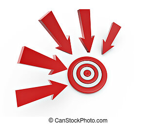 3d cursor arrow around target isolated on white background