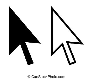 Pointing computer cursor arrows, isolated on white background.