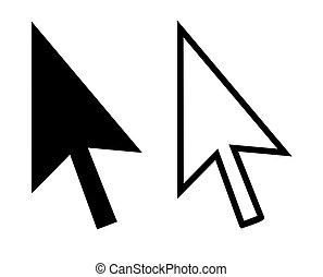 Cursor arrows - Pointing computer cursor arrows, isolated on...