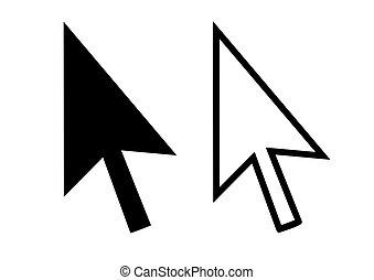 Cursor arrows - Silhouette of two black cursor arrows ...