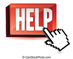 cursor, botão, ajuda, mão