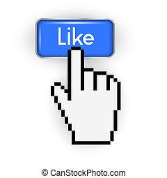 cursor, botón, como, mano