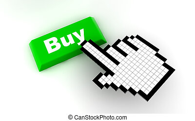 Cursor buy - A white hand cursor push a green button