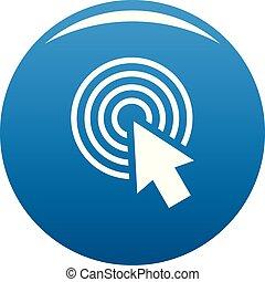 Cursor click round icon blue vector