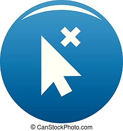 Cursor close element icon blue vector