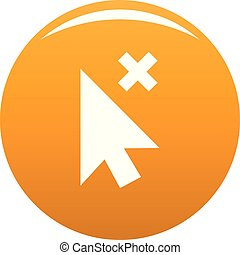 Cursor close element icon vector orange