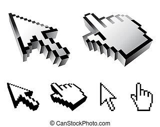 Set of six cursor designs.