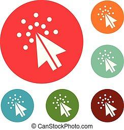 Cursor digital icons circle set vector