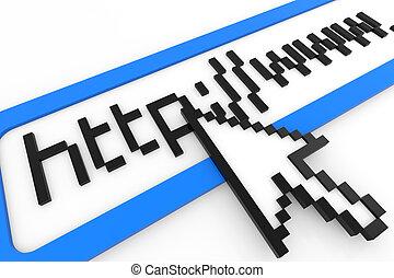 cursor, el señalar en, http, www, text., conexión de...