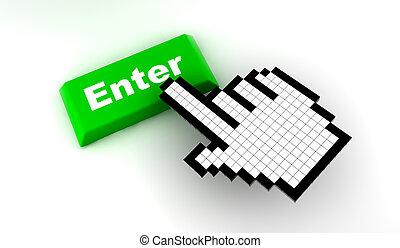 Cursor enter - A white hand cursor push a green button