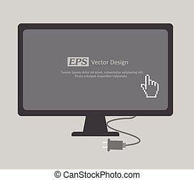 cursor, exhibición, mano