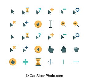 Cursor flat icon set. Vector and Illustration.
