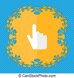cursor. Floral flat design on a blue abstract background with place for your text.
