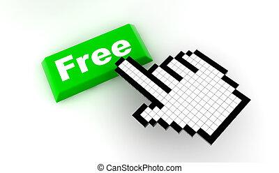 Cursor free - A white hand cursor push a green button