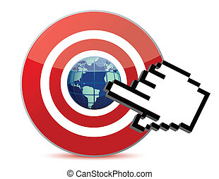 cursor hand and globe - cursor hand clicks on search engine...