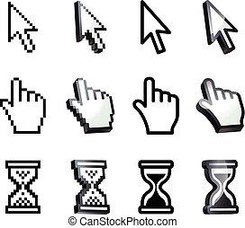 Cursor. Hand, arrow, hourglass. Black and white vector...