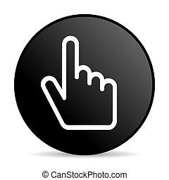 Cursor hand black color web design round internet icon on white background.