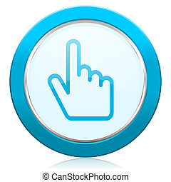 Cursor hand blue chrome silver metallic border web icon. Round button for internet and mobile phone application designers.