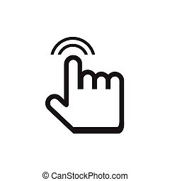 cursor hand icon with shadow on white background