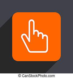 Cursor hand orange flat design web icon isolated on gray background