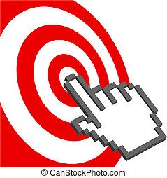 Cursor hand points to select red target bulls-eye - A pixel...