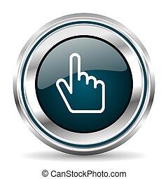 Cursor hand vector icon. Chrome border round web button....