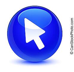 Cursor icon glassy blue round button