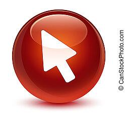Cursor icon glassy brown round button