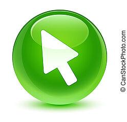 Cursor icon glassy green round button