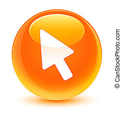 Cursor icon glassy orange round button