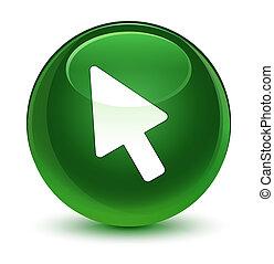 Cursor icon glassy soft green round button
