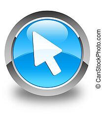 Cursor icon glossy cyan blue round button