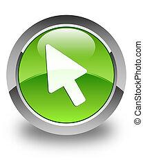 Cursor icon glossy green round button