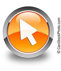 Cursor icon glossy orange round button