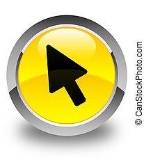 Cursor icon glossy yellow round button