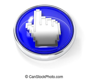 Cursor icon on glossy blue round button