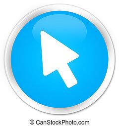Cursor icon premium cyan blue round button