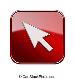 Cursor icon red, isolated on white background