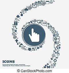 cursor icon sign in the center. Around the many beautiful symbols twisted in a spiral. You can use each separately for your design. Vector