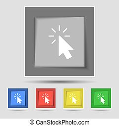 Cursor icon sign on original five colored buttons. Vector