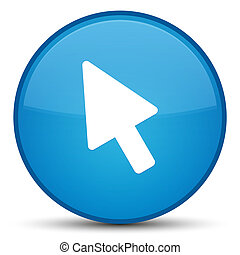 Cursor icon special cyan blue round button