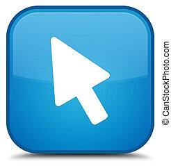 Cursor icon special cyan blue square button