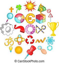 Cursor icons set, cartoon style