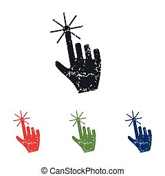 cursor, jogo, grunge, mão, ícone