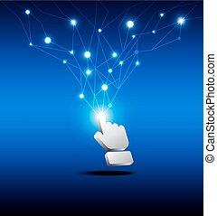 cursor, knoop, hand, netwerk, klikken