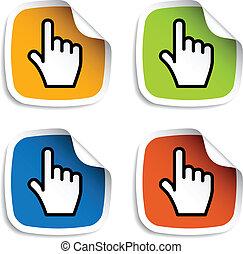 cursor, liso, vector, pegatinas, mano